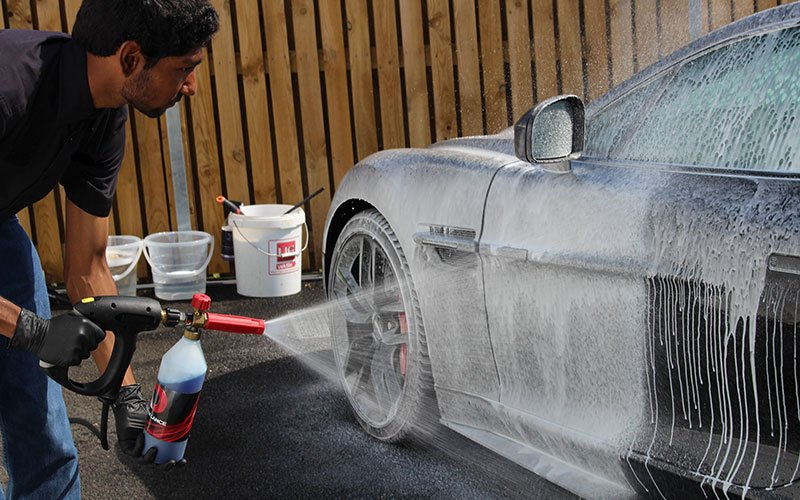 Kyan carrying out a maintenance wash at our car detailing premises close to Petersfield, on the Hampshire and West Sussex border.